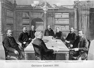 Executive Council of Ontario - The Ontario Cabinet of 1891. Clockwise starting at centre foreground: O. Mowat, A.S. Hardy, J.M. Gibson, R. Harcourt, E.H. Bronson, J. Dryden, G.W. Ross, C.F. Fraser