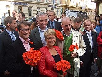 Fredrik Reinfeldt - Fredrik Reinfeldt and the Alliance for Sweden in 2006. From left: Göran Hägglund, Lars Leijonborg, Maud Olofsson, Reinfeldt