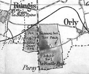 Orly Air Base - Map showing the locations of the three airfields that were used as part of the Air Service Acceptance Park No. 1