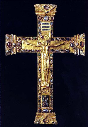 Cross of Lothair - The Mathilda Cross of c. 973 has many similarities, but has a sculpted Christ on the front, above a figurative enamel plaque.