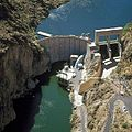 Our -damoftheweek is Mormon Flat Dam, a 224-foot high concrete thin-arch structure, is on the Salt River 51 miles northeast of Phoenix. http---on.doi.gov-1MHnrUW (26540203050).jpg