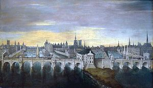 Pont Neuf - Painting of the Pont Neuf project as approved by King Henry III in 1578. The bridge was completed in 1607 with a less ornate design.