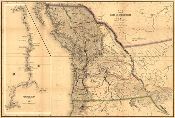 "US Navy Admiral Charles Wilkes' 1841 Map of the Oregon Territory from ""Narrative of the United States Exploring Expedition"". Philadelphia: 1845 Pacific-Northwest.jpg"