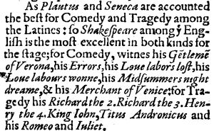 Chronology of Shakespeare's plays - Extract from Francis Meres' Palladis Tamia (1598), which makes reference to twelve of Shakespeare's plays.