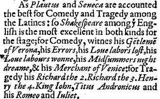 Palladis Tamia - Excerpt from Palladis Tamia (1598) listing 12 of Shakespeare's plays
