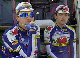 Paolo Bettini and Michele Bartoli, Paris-Tours 1997.jpg