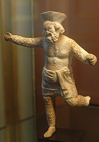 Papposilenus playing the crotals, theatrical type of the satyr play, Louvre.