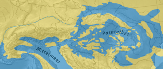Paratethys - Paratethys realm at 17–13 mya.
