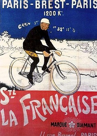 "Maurice Garin - 1901 Advertisement with Paris–Brest–Paris winner Maurice Garin for ""La Française"""