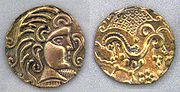 Gold coins of the Gaul Parisii, 1st century BC, (Cabinet des Médailles, Paris).