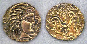 Timeline of Paris - Gold coins of the Parisii, 1st century BCE, (Cabinet des Médailles, Paris)