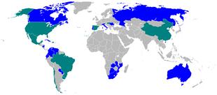 Parmalat nel mondo: in blu i paesi con presenza diretta, in verde i paesi con presenza tramite licenza
