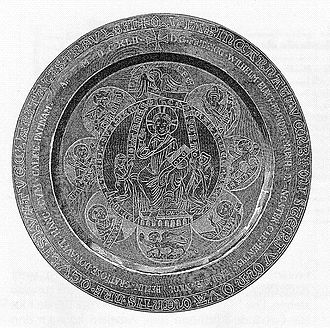 John II, Margrave of Brandenburg-Stendal - Paten depicting John II and his wife, Hedwig of Werle, from the Chorin Abbey, 1280/1290
