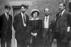 Elizabeth Gurley Flynn - 1913 photo of Paterson silk strike leaders Patrick Quinlan, Carlo Tresca, Elizabeth Gurley Flynn, Adolph Lessig, and Bill Haywood