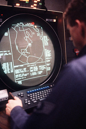 PAVE PAWS - 1986 operator and AN/FPS-115 console.