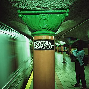 Pavonia Terminal - The letter E on the pillars at the Newport PATH station
