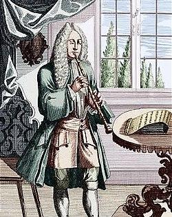 Oboísta tocando. Grabado extraído de Musicalisches Theatrum de J.Ch. Weigel. El auge de la burguesía hace que los músicos tengan que depender cada vez menos de «sus protectores» e interpreten más su música para los nuevos destinatarios.