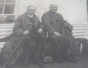 John Horne - John Horne (left) and Ben Peach outside the Inchnadamph Hotel, 1912