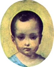 Framed oval head and shoulders portrait of a an infant boy