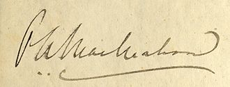 Percy Alexander MacMahon - MacMahon's signature