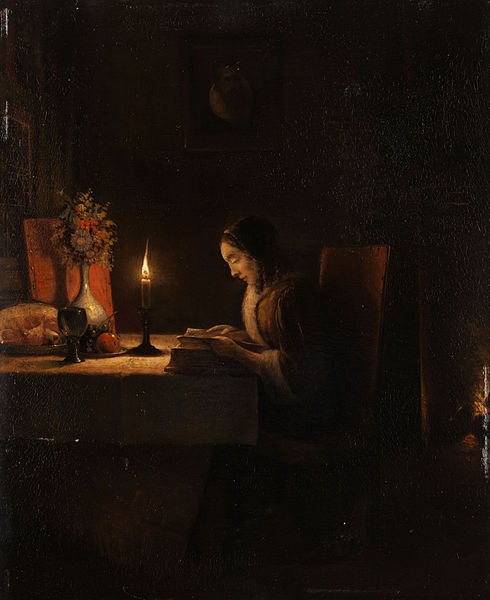 File:Petrus van Schendel Lektüre bei Kerzenlicht.jpg