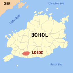 Map of Bohol with Loboc highlighted