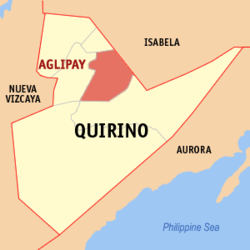 Map of Quirino showing the location of Aglipay.