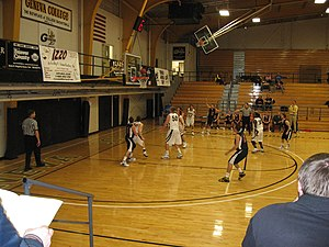 Cairn University - Cairn's basketball team (black jerseys) playing at Geneva College
