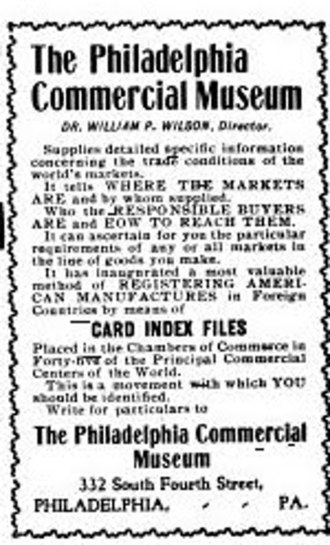Philadelphia Commercial Museum - Commercial Museum advertisement, November 1902