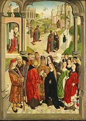 The Marriage of the Virgin, with the Expulsion of Saint Joachim from the Temple, the Angel Appearing to Saint Joachim, the Meeting at the Golden Gate, the Birth of the Virgin, and the Presentation of the Virgin