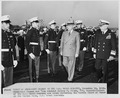 Photograph of President Truman and Vice Admiral Aubrey Fitch, Superintendent of the U.S. Naval Academy, reviewing the... - NARA - 198674.tif