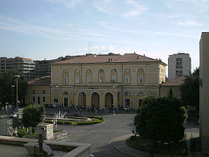 Perugia railway station - The Piazza and passenger building.