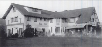 Pickfair - The front of the mock-Tudor designed six bedroom house. Contained a screening room, glassed-in sun porch, bowling alley, and billiard room.