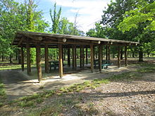 Picnic Shelter With Two Wooden Picnic Tables In Yarramundi Reach Canberra