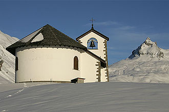 Kerns - Chapel at Melchsee-Frutt with the Graustock mountain peak in the background