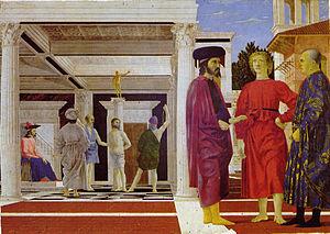 Probabile ritratto di Tommaso Paleologo, che si può impersonificare, nel giovane biondo scalzo tra gli altri due personaggi, rappresentato nel dipinto della flagellazione di Cristo, da Piero della Francesca.