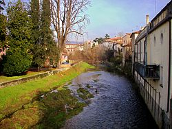 The Soligo river flows through the centre of Pieve di Soligo.