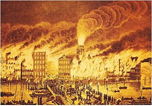 Great fire of Hamburg - The Great Fire, 1842 painting by Peter Suhr