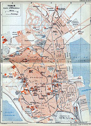 Timeline of Tunis - Map of Tunis, 1937