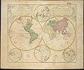 Planiglobii terrestris mappa universalis utrumq hemisphærium orient. et occidentale repræsentans ex IV mappis generalibus = Mappe-monde qui represente les deux hemispheres savoir celui de l'orient et (4072626766).jpg