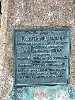 Plaque, Ros Castle - geograph.org.uk - 844317