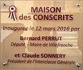 Plaque de l'inauguration de la Maison des Conscrits de Villefranche-sur-Saône.jpg