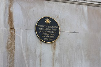 Wynkyn de Worde - Plaque to Wynkyn de Worde, Stationers Hall, London