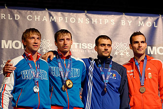 Men's sabre at the 2013 World Fencing Championships - On the podium: from left to right, Nikolay Kovalev, Veniamin Reshetnikov, Tiberiu Dolniceanu, and Áron Szilágyi