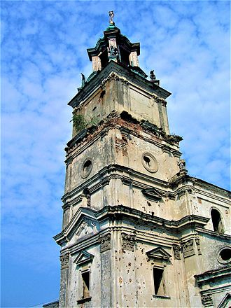 Massacres of Poles in Volhynia and Eastern Galicia - Bullet marks on the tower of the Podkamień Abbey, where many Poles sought refuge, which was stormed by of the UPA on 12 March 1944