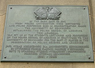 University of Edinburgh Medical School - Polish School of Medicine plaque