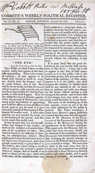 Political Register - Title page of Political Register, January 19, 1828 (British Library, London)