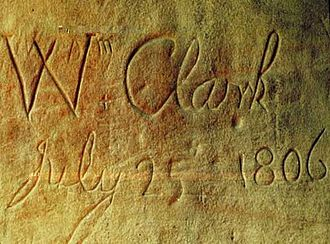 Pompeys Pillar National Monument - William Clark's inscription on Pompey's Pillar.
