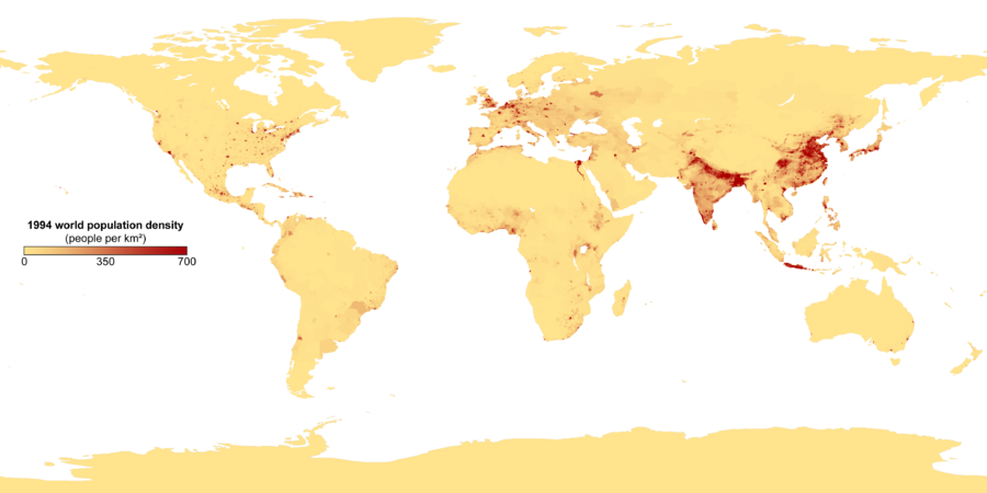 Population density (people per km ) map of the world in 1994 Population density with key.png