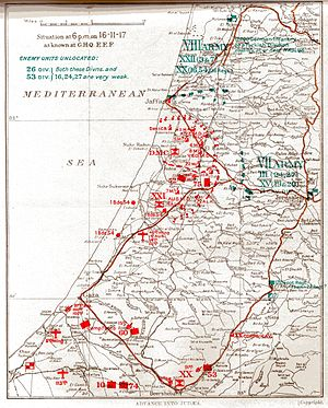 Battle of Jerusalem - Situation at 18:00 on 16 November 1917 as known to GHQ EEF